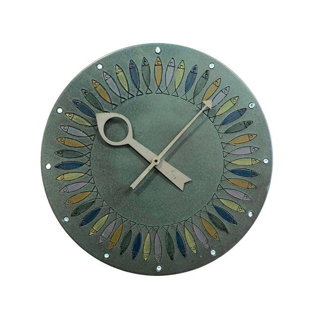 Rare Bitossi Fish Meridian Clock, 1960's For Sale