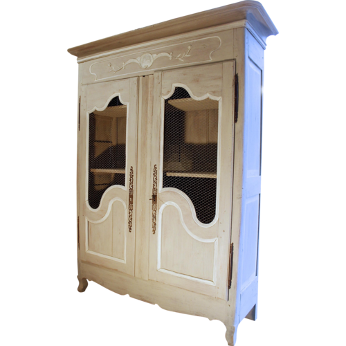 French Provincial Louis XV Style Grey Painted Armoire   Image 2 Of 10