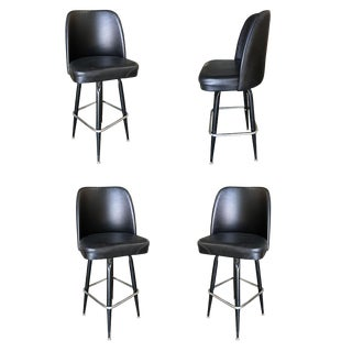 Knoll Inspired Modernist Lounge Swivel Bar Stool, Set of Four For Sale