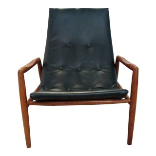 1960s Mid Century Modern Dark Green Vinyl Scoop Chair For Sale