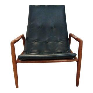 1960s Mid Century Modern Dark Green Vinyl Scoop Chair