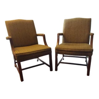 1970s Walnut Sanford Brown Arm Chairs - A Pair