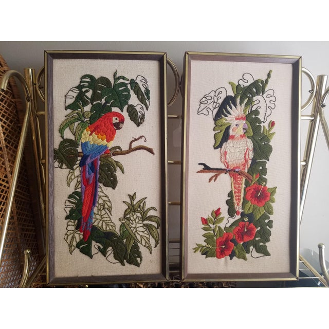 Vintage Crewel Embroidered Bird Artwork - A Pair - Image 2 of 5