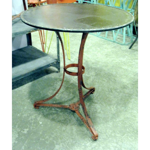 One pair french garden tables with lovely old worn painted finish priced individually.