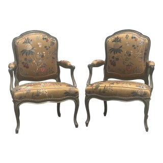 19th Century Green Painted Bergere Chairs - a Pair. For Sale