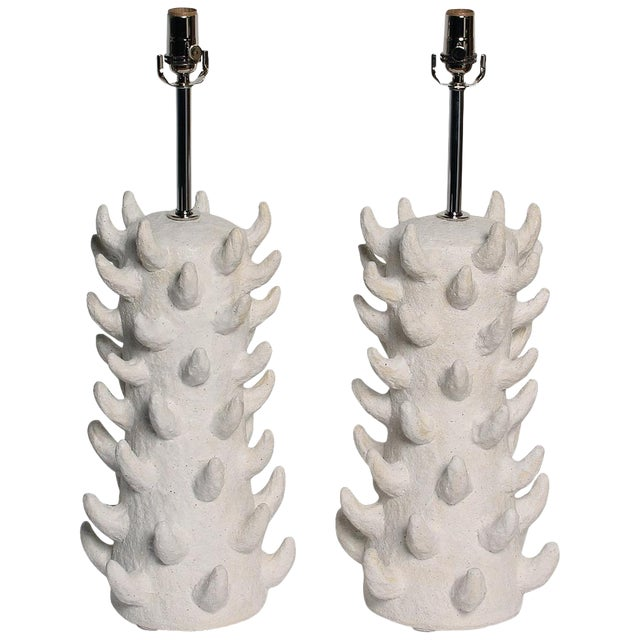 Handcrafted Salt-Glazed Stoneware Lamps by Priscilla Hollingsworth for Stripe - a Pair For Sale
