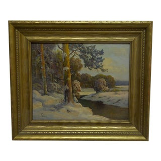"Late 20th Century Vintage Fedor ""The Stream in Winter"" Painting For Sale"