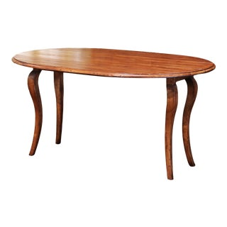Vintage French Louis XV Carved Walnut Drop Leaf Oval Console Table For Sale