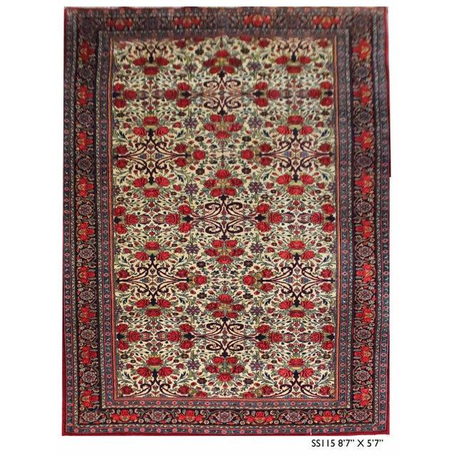 Textile Vintage Persian Bidgar Rug - 5′7″ × 8′7″ For Sale - Image 7 of 7