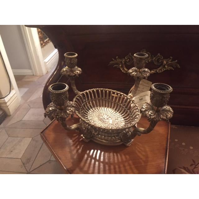 1900s Vintage French Silvered Bronze Candle Center Bowl Basket For Sale - Image 11 of 11