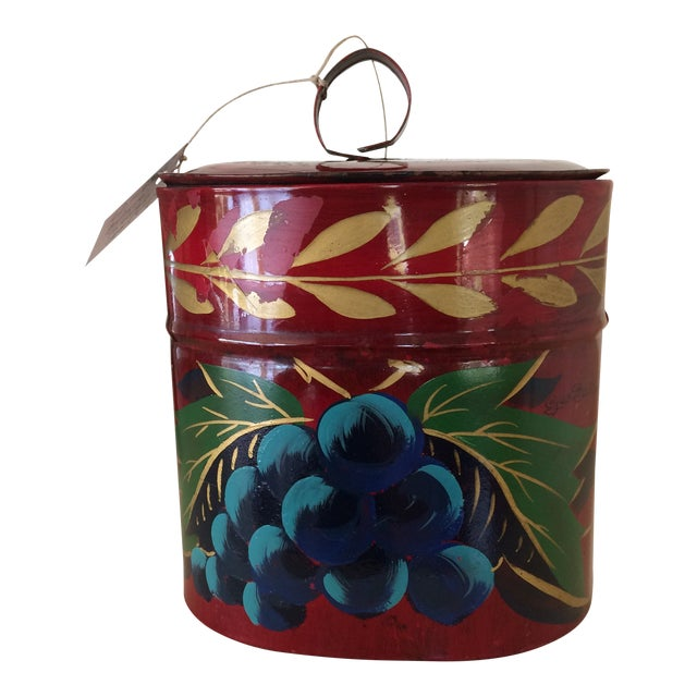 Antique Hand Painted Toleware Tea Caddy For Sale