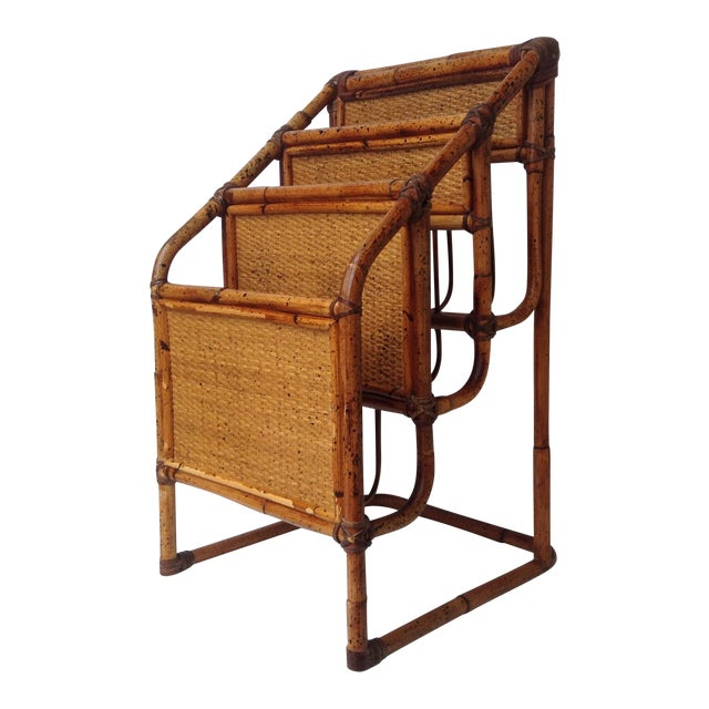 Vintage Bamboo Leather-Wrapped Magazine Stand - Image 1 of 11