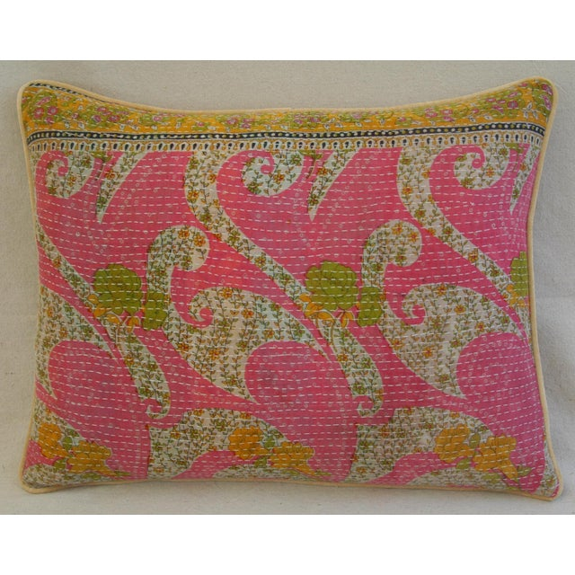 Vintage Kantha Feather & Down Textile Pillow - Image 3 of 5