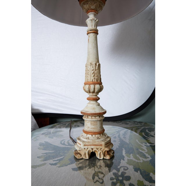Textile Louis XVI Carved and Painted Alter Candlestick Lamp For Sale - Image 7 of 9