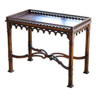 1990s Chippendale Lane Solid Wood Accent Table With Fretwork For Sale