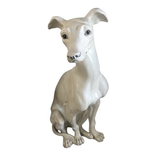 1970s Life Size Ceramic Greyhound Statue For Sale