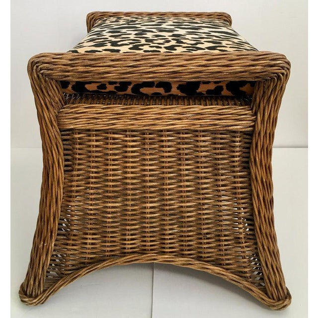 Sculptural Draped Wicker Bench With Animal Print Cushion For Sale - Image 4 of 9