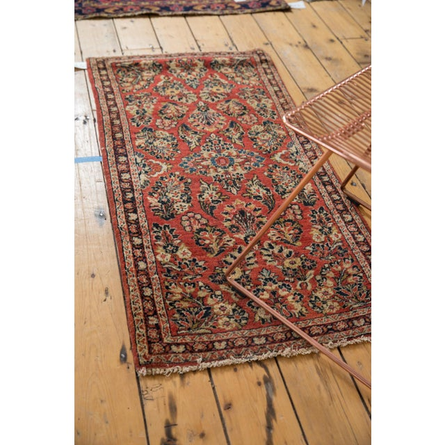 "Textile Vintage American Sarouk Rug Runner - 2'2"" X 4'2"" For Sale - Image 7 of 11"