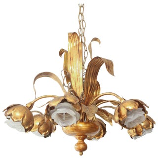 1960s Italian Mid-Century Flora-Form Gilt Metal Chandelier For Sale