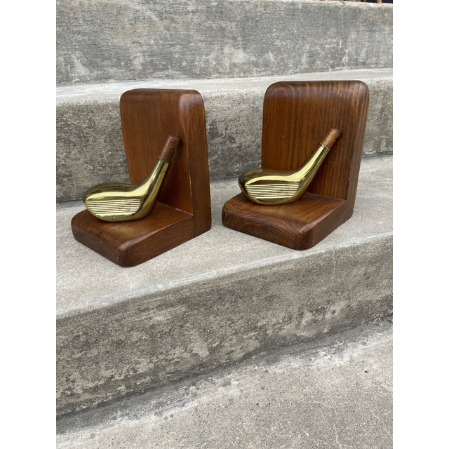 Brass & Walnut Golf Club Bookends For Sale - Image 11 of 11