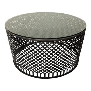 Round Metal Base Glass Top Drum Coffee Table