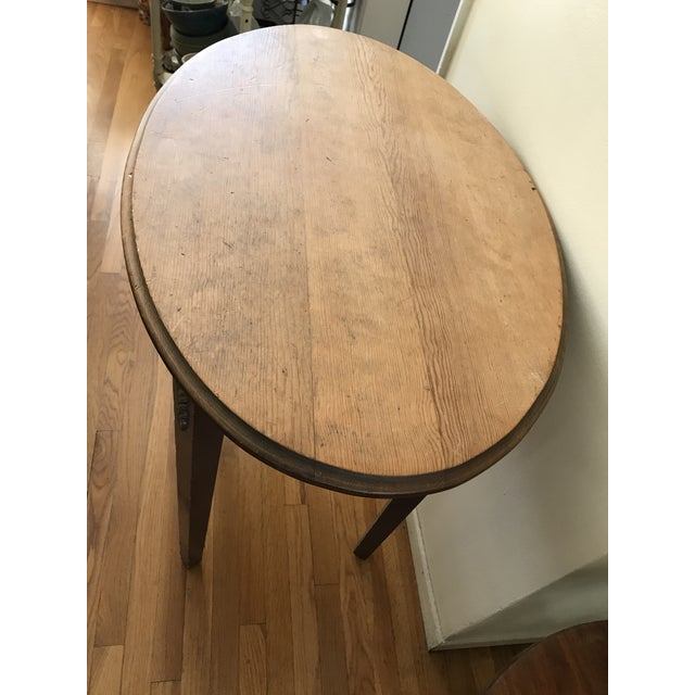 1960s 1960s Boho Chic Wooden Oval Accent Table For Sale - Image 5 of 13
