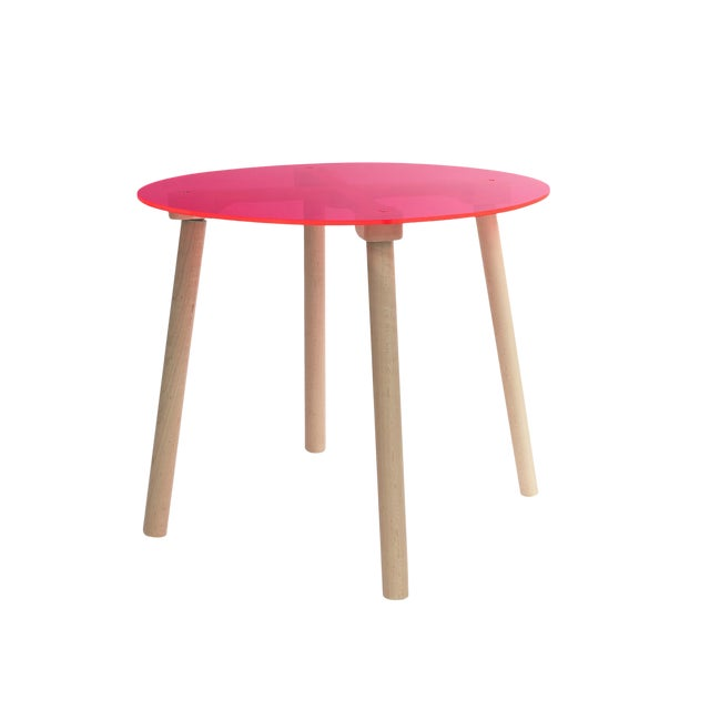 """Ac/Bc Large Round 30"""" Kids Table in Maple With Pink Finish Acrylic Top For Sale"""