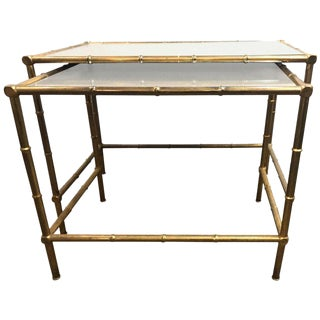 A Brass Nest Of Tables With Mirror Tops In Bamboo Form For Sale