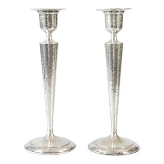 Tall Vintage Hammered Silver Plate Candlesticks - a Pair For Sale