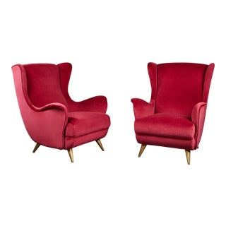 Pair of Velvet Wingback Italian Lounge Chairs in the Manner of Gio Ponti For Sale