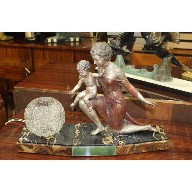 Black U. Cipriani French Art Deco Lamp Sculpture For Sale - Image 8 of 10