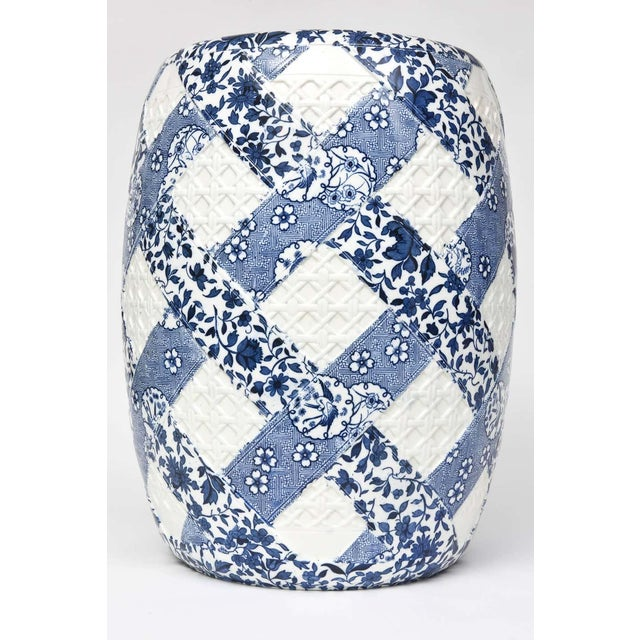 Blue Antique 19th Century Minton Blue and White Basket Weave Garden Seat Stool For Sale - Image 8 of 13