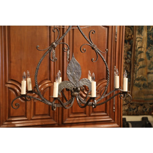 Large 19th Century French Wrought Iron Eight-Light Chandelier With Fleur-De-Lys For Sale - Image 9 of 10