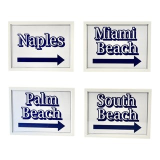 Set of 4 Florida Beach Signs White on White For Sale