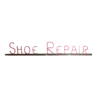 Vintage Art Deco Glo-Brite Pink Shoe Repair Sign