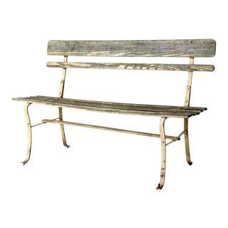 Vintage Slat Wood Garden Bench For Sale