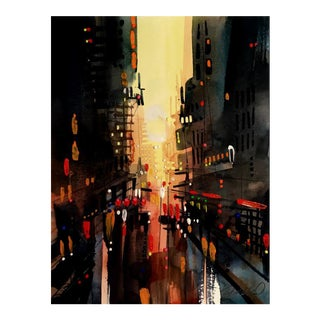 Premium Giclee print of Hot in the City Watercolor & Acrylic For Sale
