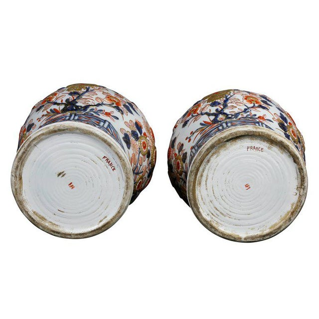 Blue Pair of Samson Export Style Covered Temple Jars For Sale - Image 8 of 10