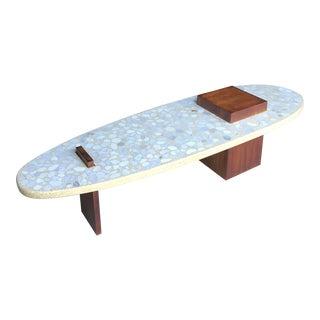 "73"" Terrazzo Walnut Surfboard Coffee Table Harvey Probber Style For Sale"