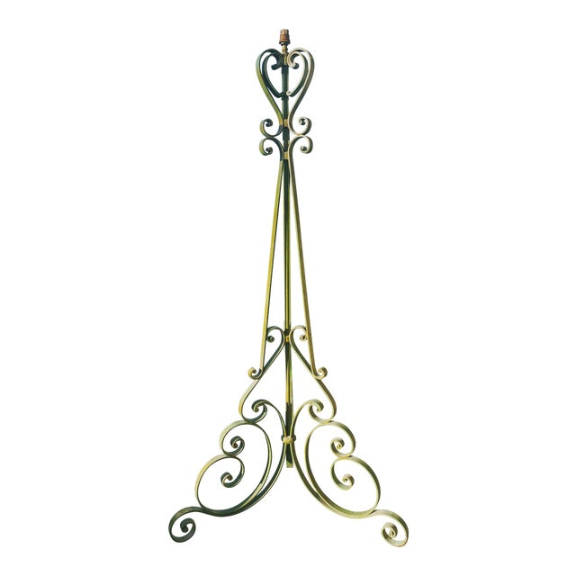 1920s Antique French Green Wrought Iron Floor Lamp For Sale