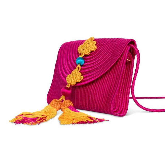1990s Yves Saint Laurent Ysl Pink Passementerie Yellow Tassel Shoulder Bag For Sale In Miami - Image 6 of 8