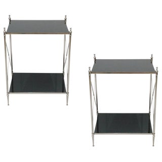 Modern Wade Square Black Mirror Side Tables - a Pair, Modern Style End Table for Living Room For Sale