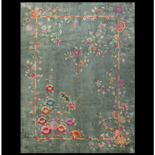 "Antique Chinese Art Deco Rug 8'10"" X 11'8"" For Sale - Image 12 of 12"