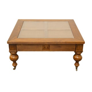 """20th Century English Traditional 40"""" Glass Top Coffee Table For Sale"""
