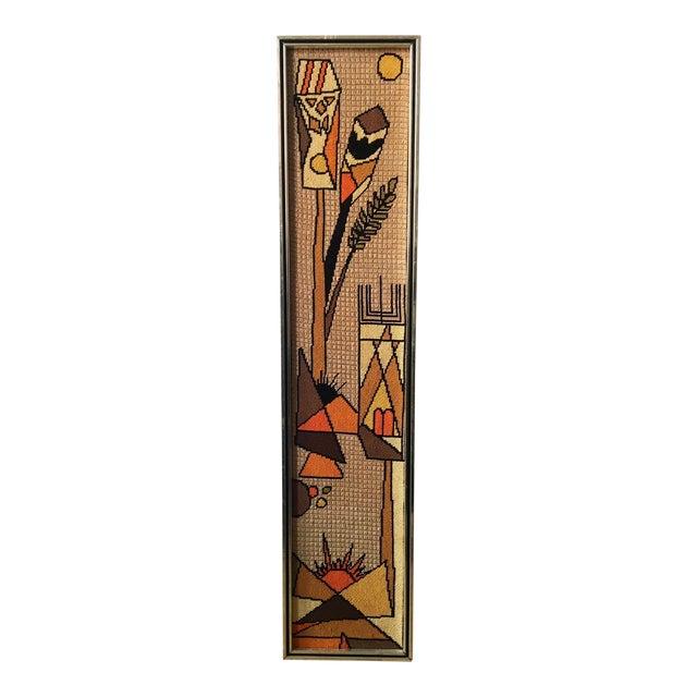 Vintage Framed Judaica Needlepoint Art For Sale