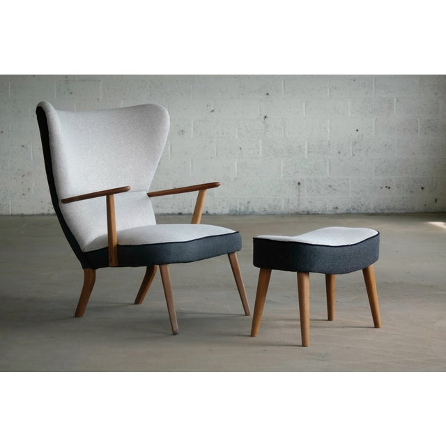 Danish 1950's Lounge Chair Model Pragh With Ottoman by Madsen and Schubell For Sale - Image 12 of 12