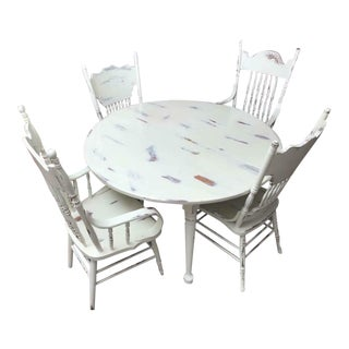 Farmhouse White Maple Dining Table and Chairs - Dining Set