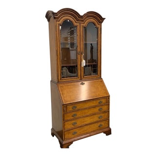 Queen Anne Jonathan Charles Walnut China Cabinet For Sale