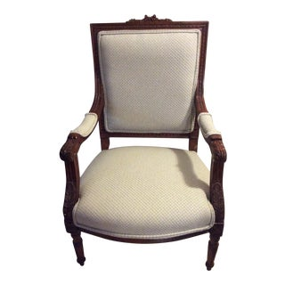 Hand Carved Mahogany Occasional Chair For Sale