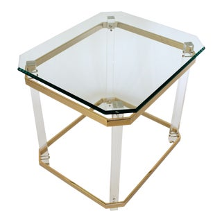 Lucite & Brass Side Table For Sale